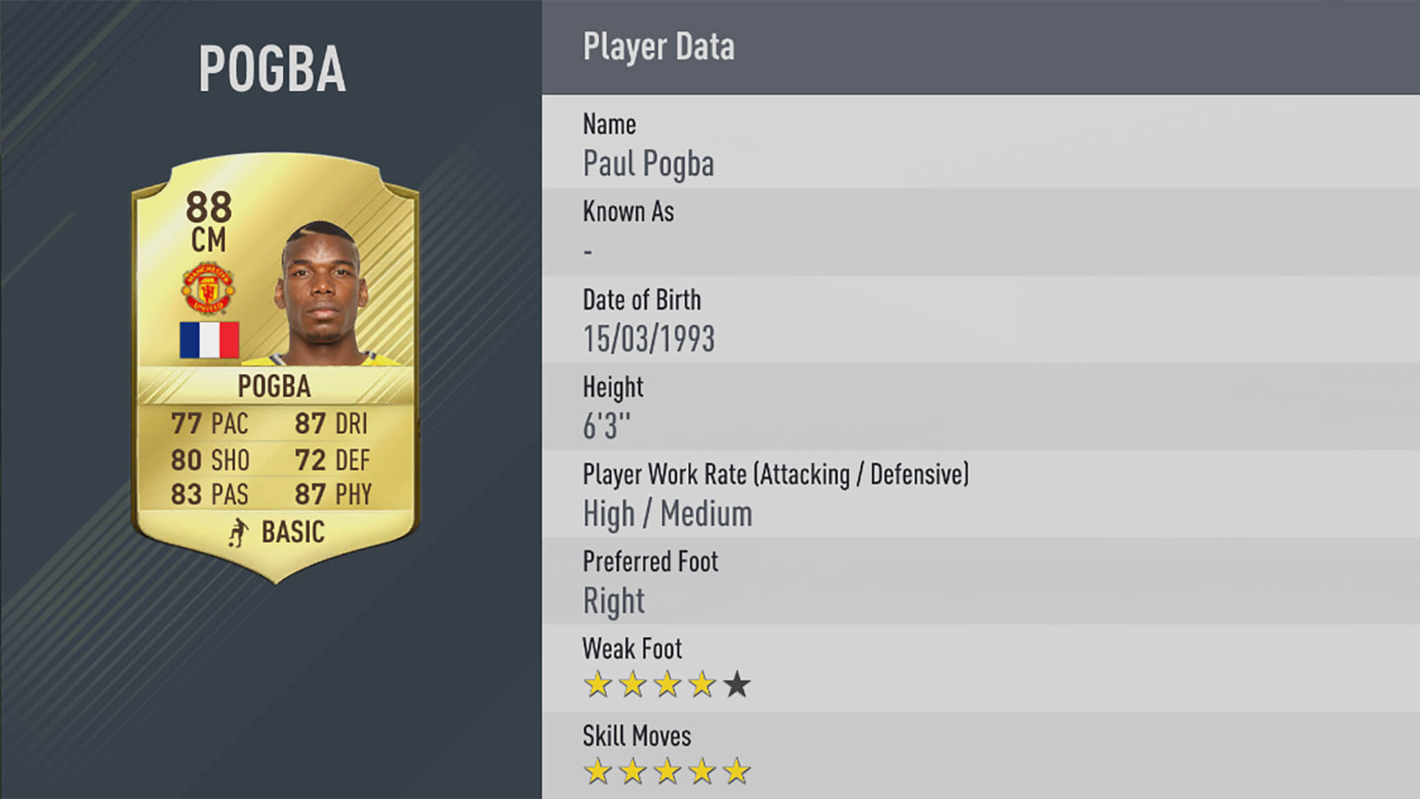 FIFA 17 - notes 50 meilleurs joueurs - Pogba