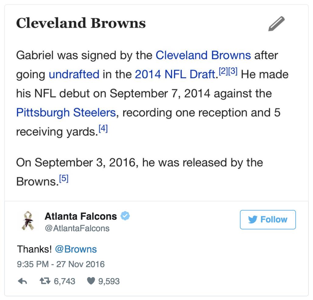 Les Falcons ont démonté les Cardinals puis trollé les Browns