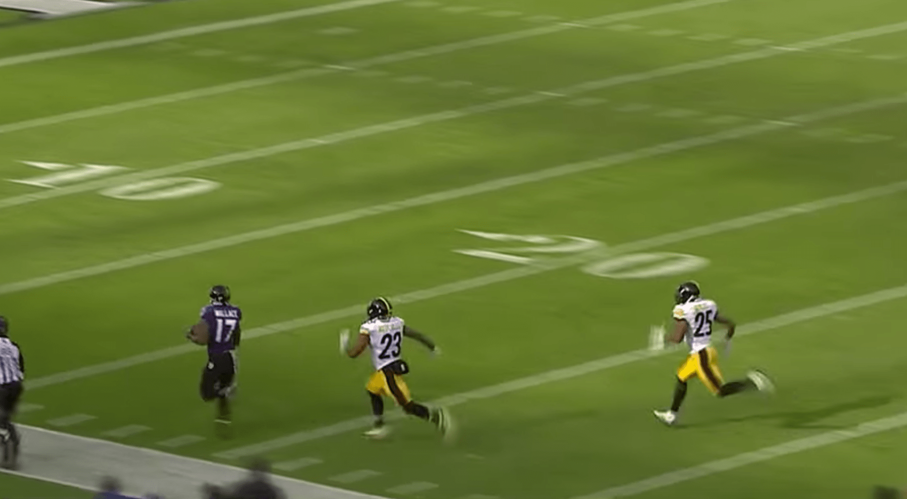 Mike Wallace et son touchdown record face aux Steelers !