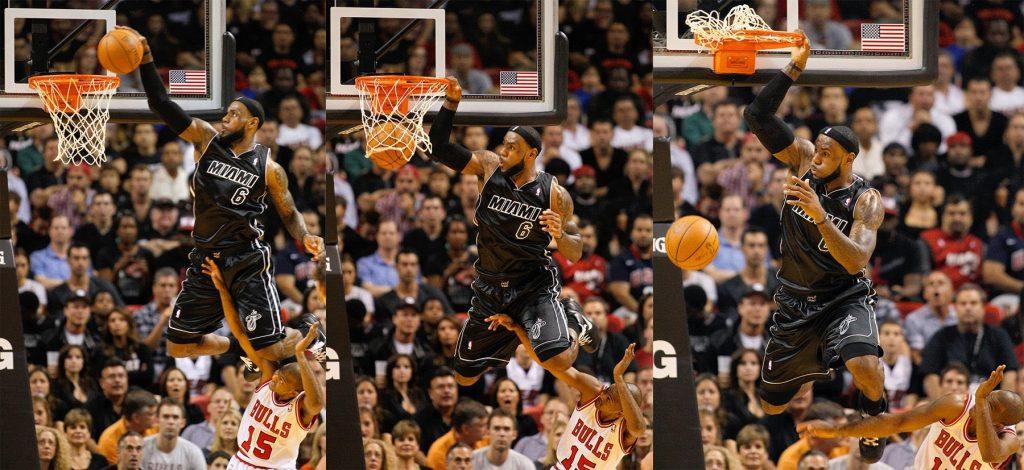 LeBron James et son dunk par-dessus John Lucas III