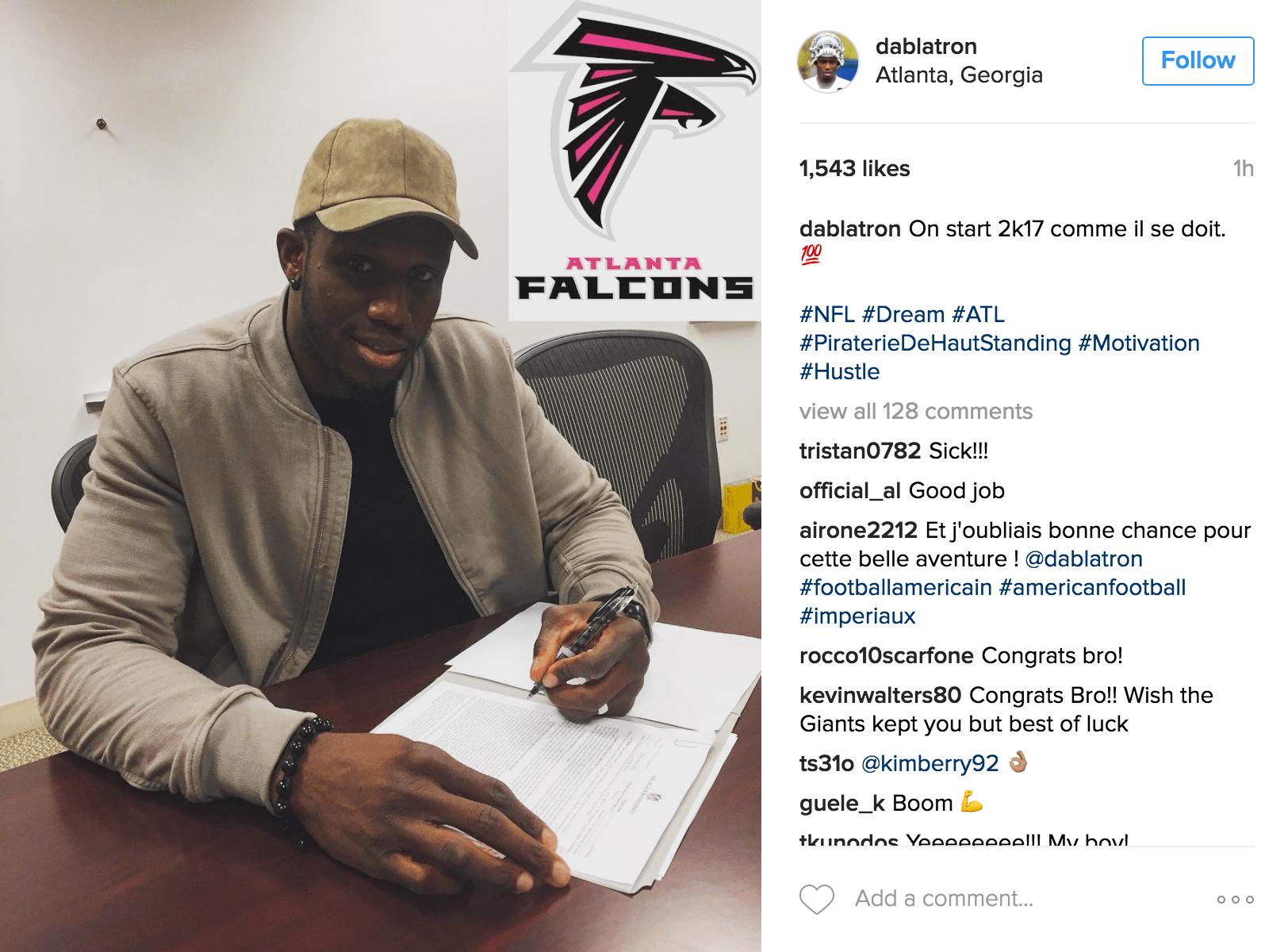 Le français Anthony Dablé vient de signer avec les Atlanta Falcons