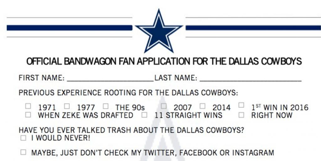 """Les Cowboys sortent un formulaire pour les """"Bandwagoners"""""""