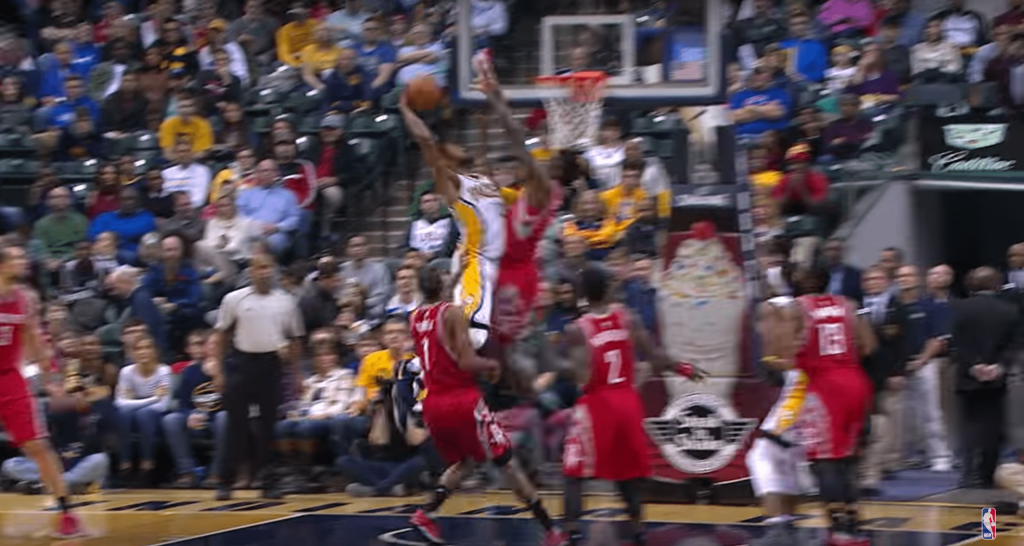 Paul George et son poster terrifiant sur Clint Capela
