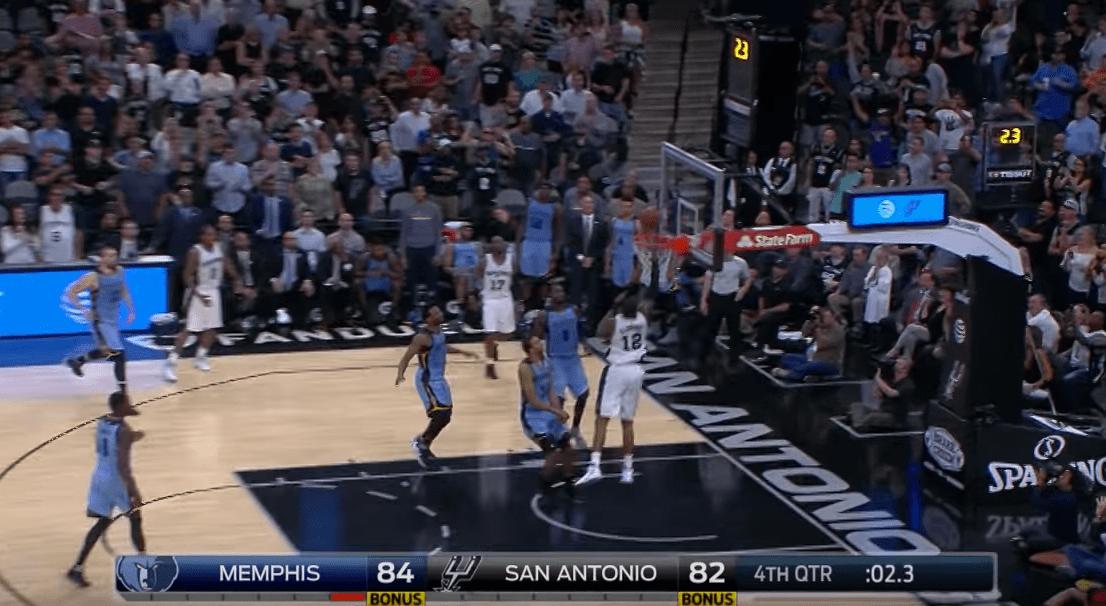 Menés à 2 secondes du buzzer, les Spurs égalisent sur un alley-oop magnifique