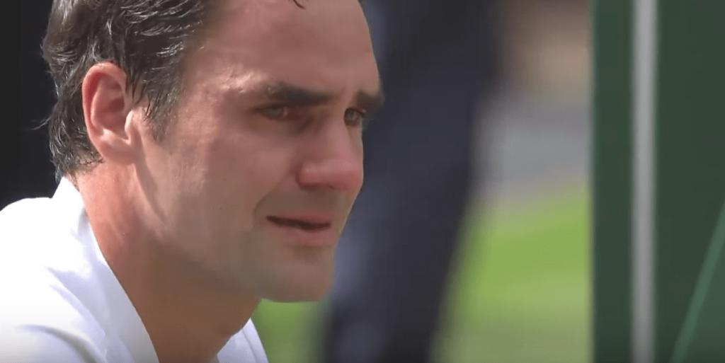Les larmes de Roger Federer après sa victoire à Wimbledon