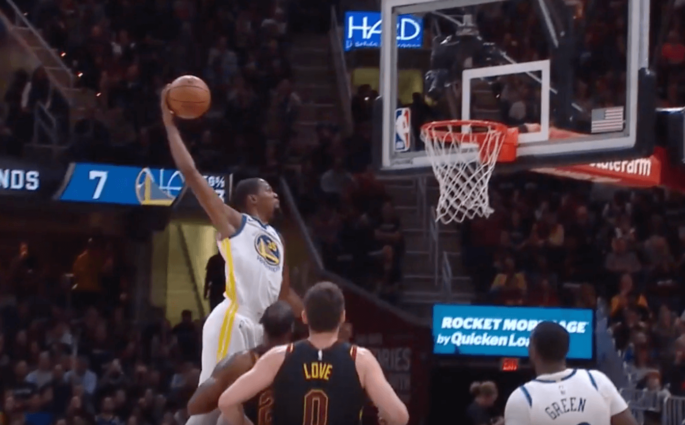 Cavaliers Warriors Kevin Durant dunk