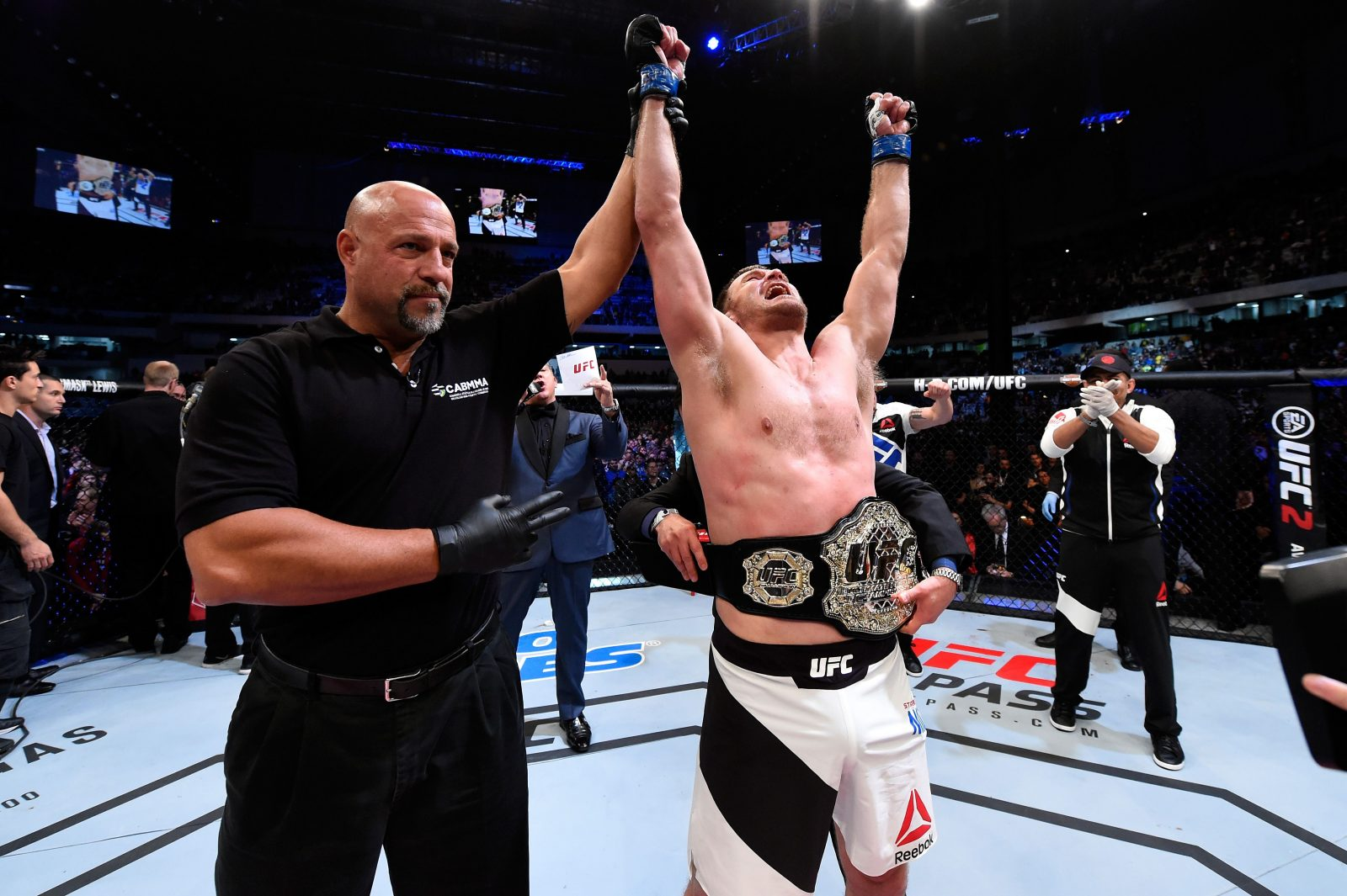 Stipe Miocic celebration