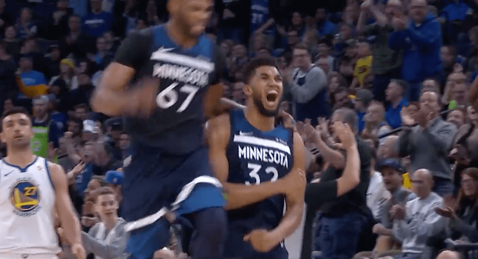 Karl Anthony Towns Timberwolves Warriors