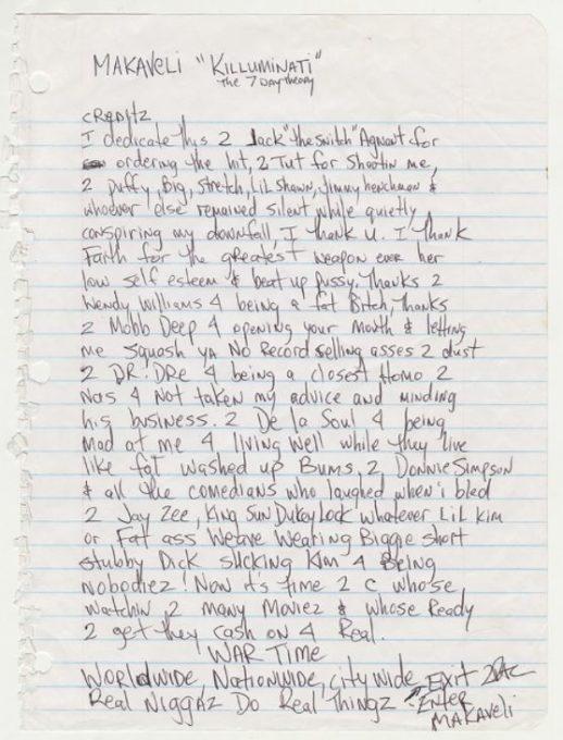 La lettre où Tupac prédit sa mort et allume Dre, Nas, Notorious BIG...