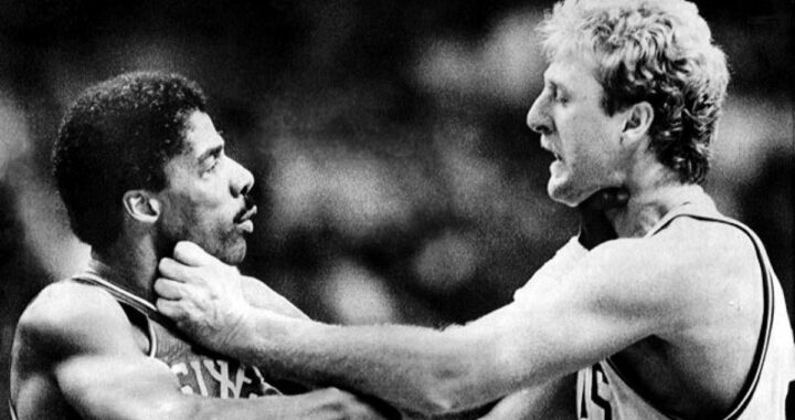 La baston de légende entre Larry Bird et Julius Erving