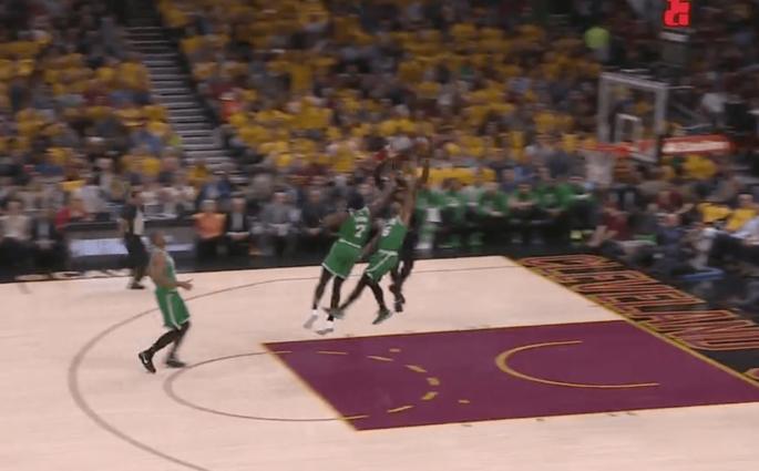 LeBron James Kevin Love full court pass Boston Celtics Game 4