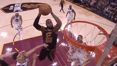 LeBron James alley oop himself