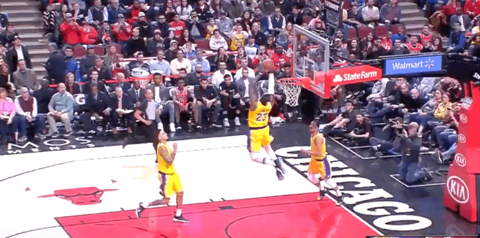 LeBron James alley oop Chicago Bulls