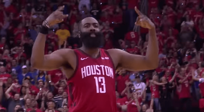 James Harden celebration win