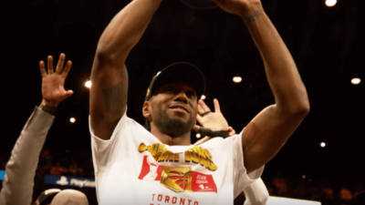 Kawhi Leonard NBA celebration