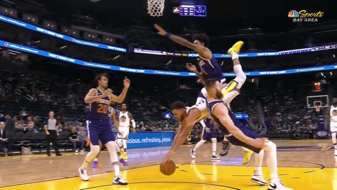 Stephen Curry fall Phoenix Suns