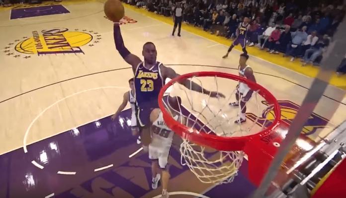 LeBron James dunk Kings