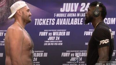 Tyson Fury Deontay Wilder face off