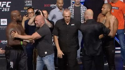 UFC 265 Ciryl Gane Derrick Lewis weigh in face off